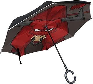 Devil Red Bull Reverse Umbrella Windproof Inverted Umbrella for Car Use