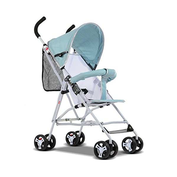 JXCC Travel Systems Baby Stroller Stroller Portable Four-Wheeled Cart Lightweight Folding Umbrella Four Seasons Universal -Safe And Stylish Green2 JXCC ★ Multi-speed adjustment carport, sun protection carport protects baby's delicate skin, awning/front armrests are detachable. ★ Full-angle flexible wheels, flexible steering, easy to implement, and free to control. ★ Bearing strong, rest assured to use. 1