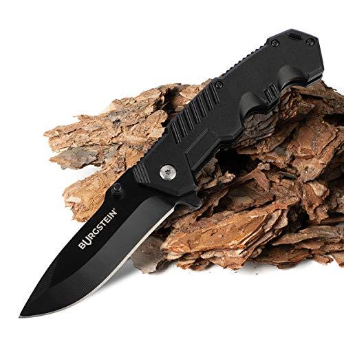 Burgstein | Outdoor Messer mit scharfer Edelstahlklinge, Klappmesser schwarz, klein für Angler & Camper, federunterstütztes Einhandmesser, Taschenmesser