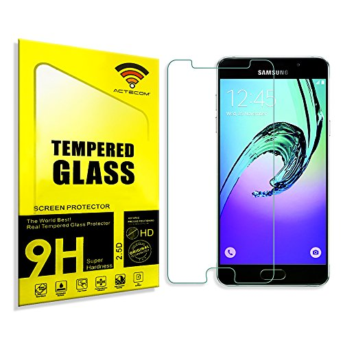 cogac ACTECOM® Cristal Templado Protector Pantalla Compatible para Samsung Galaxy A5 A510F 2016 con Caja
