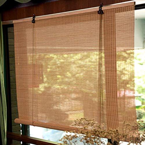 JXJ Persianas enrollables de bambú para cenador Exterior con Gancho, 60% de filtración de luz Cortinas enrollables de bambú de Ancho 60/80/90/100/120 cm Sombrilla G5105 (Tamaño: W 90 Veces; H 17
