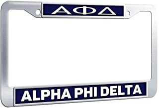 Customizefu Alpha Phi Delta Personalized License Plate Frame, Premium Stainless Steel Funny Car License Plate Holders with Screws Caps for US Standard - Blue