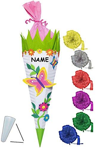 alles-meine.de GmbH BASTELSET Schultüte -  Schmetterling & Blumen  - 85 cm - incl. Schleife + Name - mit / ohne Kunststoff Spitze - Zuckertüte - Set zum selber Basteln - 6 ecki..