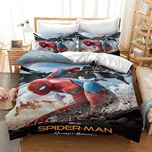 Juego de funda de edredón con estampado digital 3D, diseño de Spiderman de Marvel, juego de cama con funda de almohada, regalo para niños y adultos (E,King 220 x 240 cm)