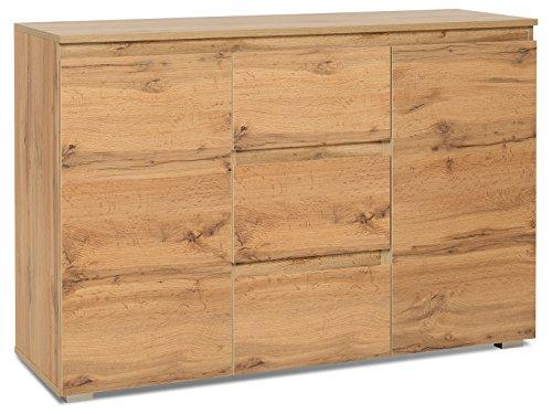 möbelando Kommode Beistellschrank Sideboard Anrichte Standschrank Schrank Ravenna III Honig-Eiche