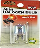 Zilla Reptile Terrarium Heat Lamps Mini Halogen Bulb, Night Red, 50W