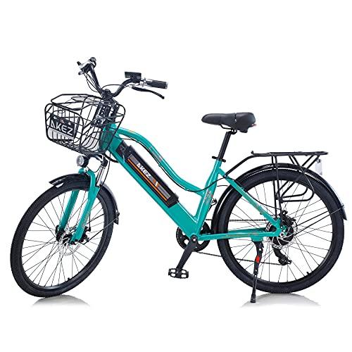 """TAOCI Bicicletas eléctricas para mujeres adultas, todo terreno 26"""" 36V 350W E-Bike Bicicletas Shimano 7 velocidades Ebike montaña para el trabajo al aire libre Ciclismo viajes"""
