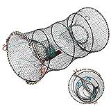 SF Red de Pesca Trampa para Cangrejos Trampa para Anguilas Red Plegable Cilindro de Nailon Trampas de Cebo de Pesca Portátiles para Cangrejo, Langosta, Pez Gato, Anguila, Camarones, 11.8 'x 22.4'