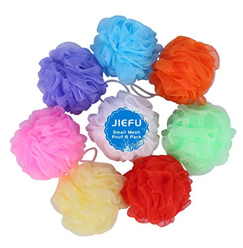 Bath Sponges Small Size Colorful Shower Sponges Exfoliating Mesh Pouf Bath Ball Back Scrubber for Kids Pack of 8