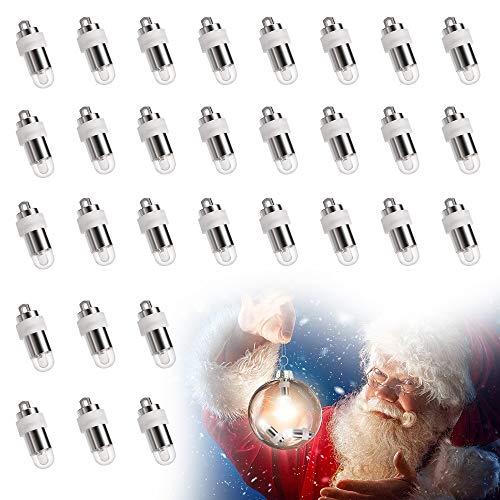 Eyscoco 30 x Mini LED-Ballons Lichter,Led Luftballons Lichter Wasserdicht Beleuchtung Warmweiß Nicht-blinkend,Led Ballonlichter Für Papierlaterne Ballons Blumendekoration,Hochzeit,Weihnachten Party