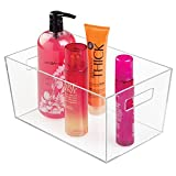 mDesign Caja de almacenaje – Contenedor de plástico transparente con asas – Ideal como organizador de baño y cocina, o como cajón para juguetes – Excelente formato