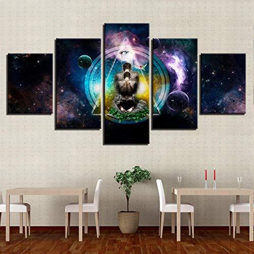 SUKOKOLA Lienzo HD impresión imágenes Arte de Pared 5 Piezas OM Yoga símbolo Cartel Buda Pintura Modular Cartel Abstracto decoración para Sala de Estar