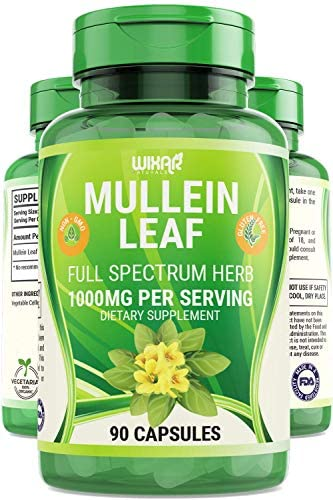 Wixar Naturals Mullein Leaf Capsules 90 Capsules Herbal Supplement Supports Healthy Respiratory product image