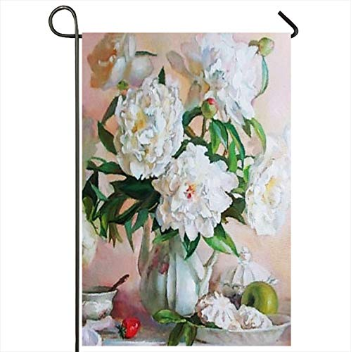 Onete Garden Flag 12x18 Inches Colorful Daffodils Drawing Oil Flowers Still Life Painting White Roses Nature Green Food Apples Outdoor Seasonal Home Decor Welcome House Yard Banner Sign Flags
