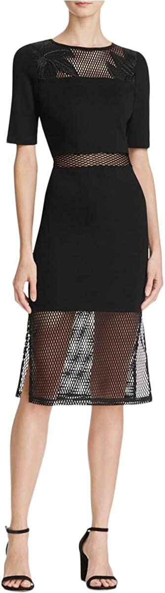 French Connection Women's Floral Cage Lace Inset Midi Dress
