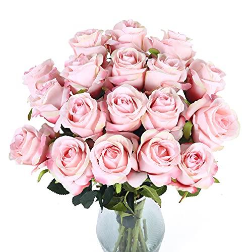 Cotemdery Künstliche Rosenblüten 10er Pack gefälschte Seidenrosen mit Langen Stielen Brautblumensträuße für Home Hotel Office Hochzeitsdekor(Hell-Pink)