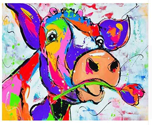 Pintura por números para adultos con Pinceles y Pinturas Cuadros de Colorear DIY Pintura al óleo para la Decoración de La Casa decoración de Navidad 16*20 Pulgadas, Sin Marco - Vaca de color