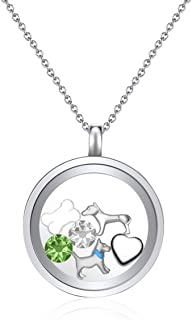 Mestige Women Glass I Love Dogs Floating Charm Necklace with Swarovski Crystals