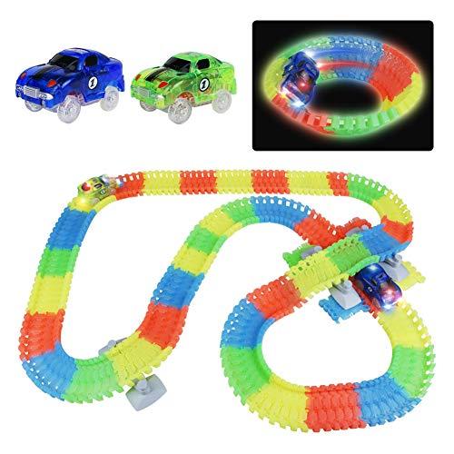 Symiu Autorennbahn Glow Track mit LED Auto Spielzeug 240pcs Autobahn Kinder, Rennbahn Kinderspielzeug Geschenk für 3 4 5 6 Jahren Junge (MEHRWEG)
