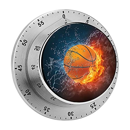Digitaler Küchenwecker, magnetisch, Basketball-Design, aus satiniertem Edelstahl, Timer für Schule, Lernen, Projekte und Küchenaufgaben
