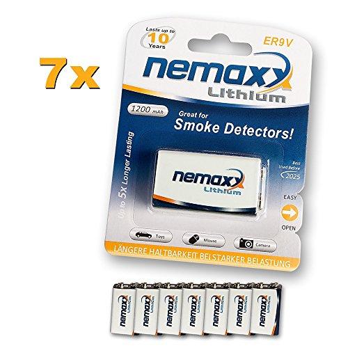 Nemaxx Lithium 9V blokbatterij voor rookmelder levensduur 10 jaar 7 Stuk