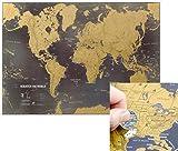 Scratch the World® - Poster carte du monde noire avec lieux de voyage à gratter - détail cartographique - 84,1 cm (L) x 59,4 (H) cm