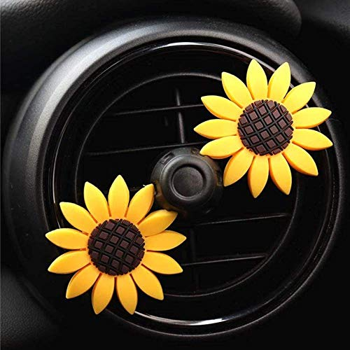 Zadin 2xPACK Sunflower Car Accesories Cute Car Air Freshener Sunflower Air Vent Clips Sunflowers...