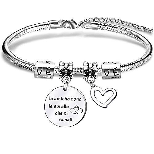 Regalo del miglior amico sorelle, braccialetto bracciale dell'amicizia con serpente d'argento per donna ragazza, regalo di laurea, regalo di compleanno