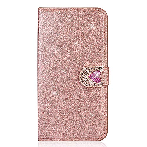 JAWSEU Compatible avec Samsung Galaxy S5 Coque Portefeuille PU Étui Cuir à Rabat Magnétique Bling Glitter Brillante Paillette Coeur d'amour Diamant Strass Leather Flip Wallet Case,Or Rose