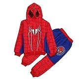 LINLIN Chicos Casual chándales Sudaderas con Capucha Kids 2 Piezas Outfit Spiderman Cosplay Set de Manga Larga Sport Traje Ropa Jumpsuit,Red- Kid 100cm