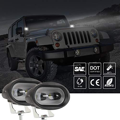 GXYNB Foco LED para Motocicleta, 4 Pulgadas, 30 W, luz de conducción para camión Todoterreno, Bicicleta eléctrica, Jeep, SUV, Barco, Tractor, 2 Piezas