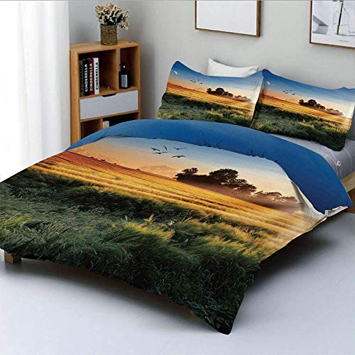 Duvet Cover Set,Photo of the Meadows in Wind Morning with Moon and Sky Landcape Pastoral Deco Home Decorative Decorative 3 Piece Bedding Set with 2 Pillow Sham,Multi,Best Gift F