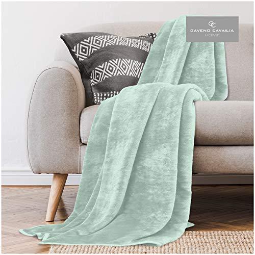 Gaveno Cavailia - Coperta in finta pelliccia di visone per divano letto, super morbida, facile da pulire, design leggero, confortevole e caldo, in pile, 200 x 240 cm, colore: menta.