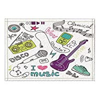 HiYash アートインテリア音楽恋人ストロークギターバスラグ滑り止め玄関マットフロア玄関屋外屋内フロントドアマットキッズバスマット15.7x23.6inバスルームアクセサリー