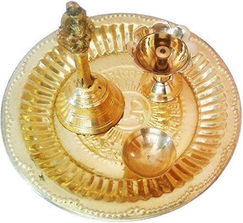 SWS–latón Pooja Artículos Diwali Thali Set (4piezas, oro)