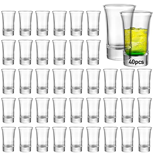 40 Pack Shot Glass Bulk Set with Heavy Base, Aoeoe 1.5 Ounce Whiskey Shot Glasses, Clear Shot Glass...