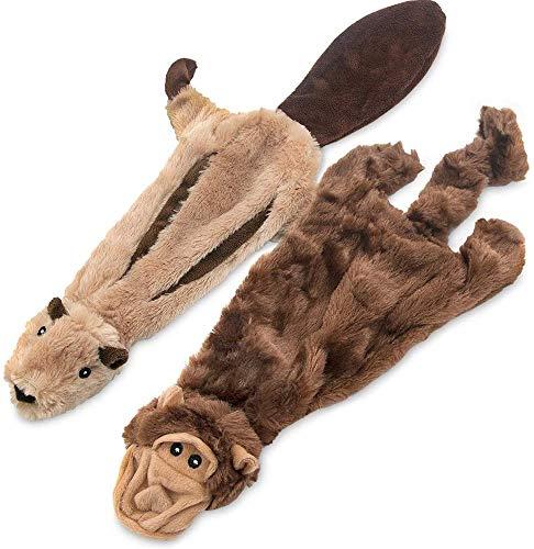 Best Pet Supplies 2-in-1 Fun Skin Stuffless Dog Squeaky Toy Monkey & Squirrel, Medium | PT43T-45-S