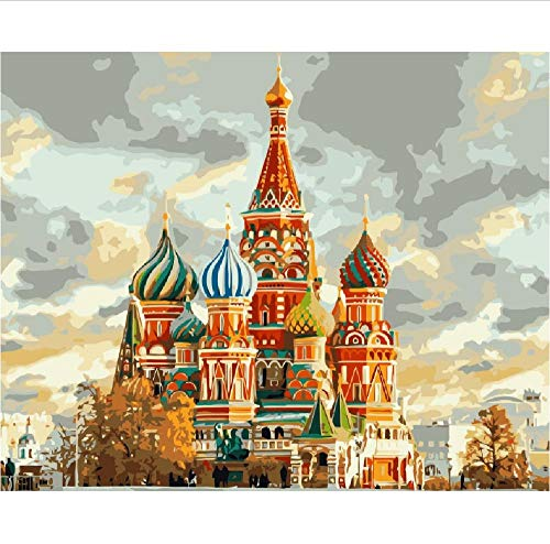 Jigsaw Puzzle 1000 Piece for Adults Puzzle 3D Wooden Classic Puzzle Landscape of Moscow Kremlin St Basils Cathedral DIY Home Decor 75X50Cm