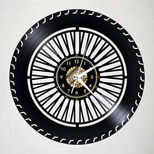 GenericBrands Retro Schallplattenuhr Reifen Vinyl Wanduhr mit upcycling Design Uhr Wand-deko Wand-Dekoration 12-Zoll(Keine Lichter)