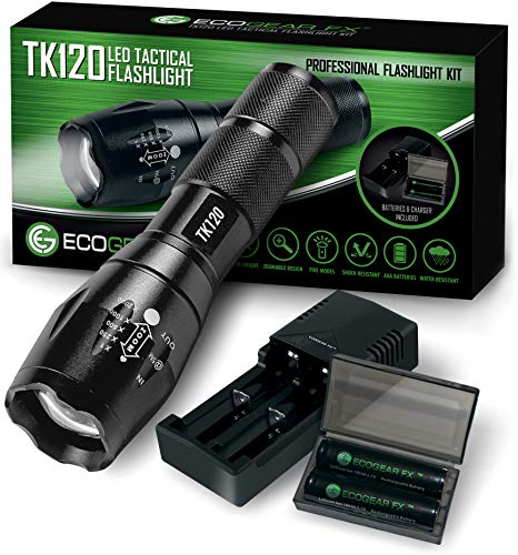 Complete LED Tactical Flashlight Kit - EcoGear FX TK120: High Lumens with 5 Light Modes, Water Resistant, Zoomable - Includes Rechargeable Batteries and Battery Charger