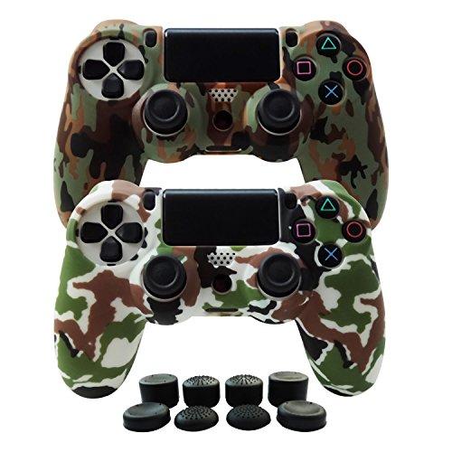 Hikfly Silikon mit Gummi Öl Gel Controller Deckel Hautschutz Fall Faceplates Kits für Sony Playstation 4 PS4 / PS4 Slim / PS4 Pro Controller (2x Controller Abdeckung mit 8 x Joystic Caps)(Braun ,Weiß)