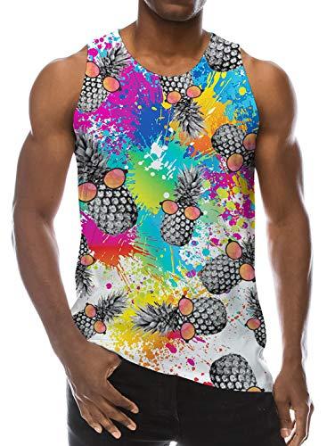 Loveternal Pineapple Tank Tops 3D Druck T-Shirt Trägershirt Workout Muskel Sleeveless Tee Shirt L