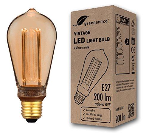 greenandco® Vintage Design LED lamp in retro stijl voor sfeerverlichting E27 ST64 Edison lamp, 4W 200lm 1800K extra warm wit 320° 230V flikkervrij, niet dimbaar