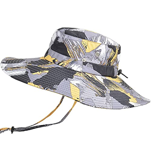 WANYIG Cappello Pescatore Uomo Donna Anti UV Tesa Larga Cappelli Uomo Estivo Cappello da Pesca Bucket Hat Fisherman Hat Safari Hat(Camuffare Giallo)