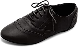 Ollio Womens 1ZM1914 Oxford-Flats