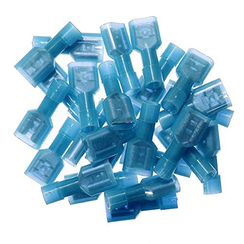 Yueton 100pcs Female Fully Insulated Wire Crimp Terminal Nylon Quick Connectors Wiring Spade (Female)