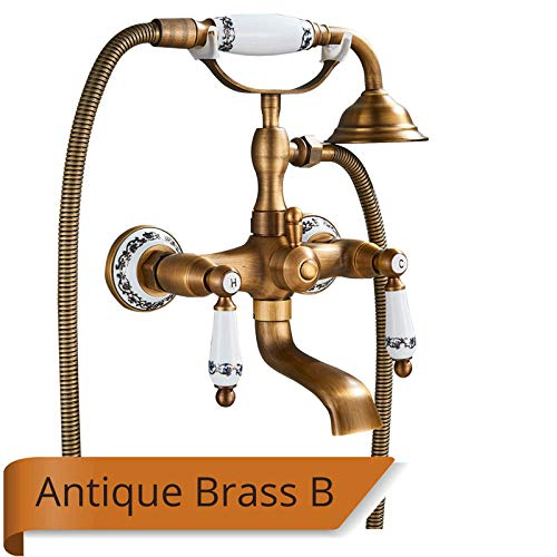 GFHDGTH Luxe Badkuip Kraan, Dual Handle Handheld Bad Douche Mixer Tap met Hand Douche Wandmontage Swivel Spout Tub wastafel Mixer Kraan Antique Brass B