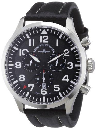 Zeno Watch Basel 6569-5030Q-s1 - Reloj analógico de cuarzo para hombre con correa de piel, color negro