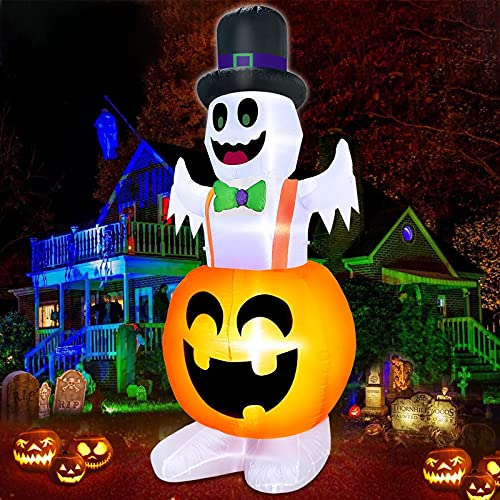 TURNMEON 8 Foot Giant Lighted Pumpkin Ghosts Blow Up Halloween Decorations Outside with LED Lights 6 Stakes 2 Tether 2 Weight Bag Inflatables Halloween Decorations Outdoor Yard Home Garden Lawn