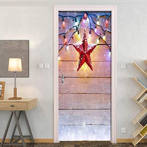 DFKJ Sueño Linterna de Madera decoración de la Puerta del Dormitorio Pegatina Creativa DIY Pintura de Pared autoadhesiva Papel Tapiz para habitación de niños A1 77x200cm